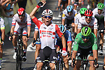 Caleb Ewan (AUS) Lotto-Soudal outsprints Elia Viviani (ITA) Deceuninck-Quick Step and Dylan Groenewegen (NED) Team Jumbo-Visma to win Stage 16 of the 2019 Tour de France running 177km from Nimes to Nimes, France. 23rd July 2019.<br /> Picture: Colin Flockton | Cyclefile<br /> All photos usage must carry mandatory copyright credit (© Cyclefile | Colin Flockton)