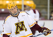 Brian Schack (University of Minnesota - Lino Lakes, MN) warms up. The University of Minnesota Golden Gophers defeated the Michigan State University Spartans 5-4 on Friday, November 24, 2006 at Mariucci Arena in Minneapolis, Minnesota, as part of the College Hockey Showcase.