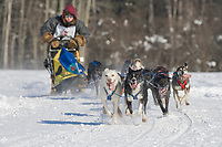 Musher Josh Cadzow, 2007 Open North American Championship sled dog race (the world's premier sled dog sprint race) is held annually in Fairbanks, Alaska.