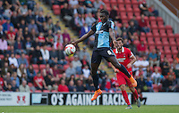 Aaron Pierre of Wycombe Wanderers wins the ball in the air during the Sky Bet League 2 match between Leyton Orient and Wycombe Wanderers at the Matchroom Stadium, London, England on 19 September 2015. Photo by Andy Rowland.
