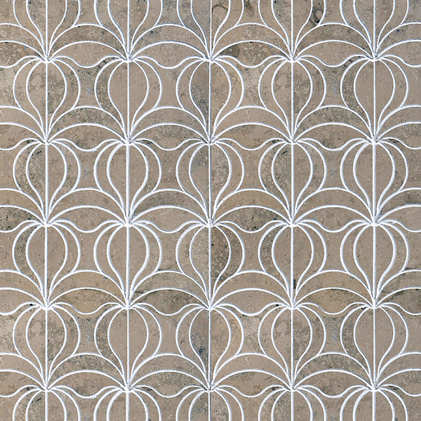 Calla, a waterjet stone mosaic, shown in honed Jura Grey, is part of the Miraflores Collection by Paul Schatz for New Ravenna.