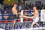 Martin O'Donoghue Killorglin right and Mark Frazier in action at the Fight for Charity night in aid of the KerryCork Health link bus in Mustangs Sally's Killarney on Friday night