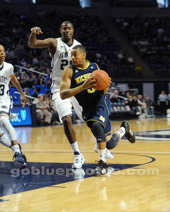 The University of Michigan men's basketball team defeated Penn State University, 71-65, at Bryce Jordan Arena in State College, Pa., on March 4, 2012.