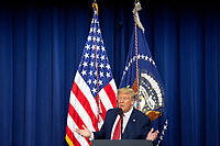 United States President Donald J. Trump delivers remarks to National Border Patrol Council Members in the South Court Auditorium of the White House in Washington D.C., U.S. on Friday, February 14, 2020.<br /> <br /> Credit: Stefani Reynolds / CNP /MediaPunch