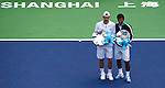 SHANGHAI, CHINA - OCTOBER 17:  Jurgern Melzer of Austria and Leander Paes of India pose for photographers with trophies after their victory over to Mariusz Fyrstenberg and Marcin Matkowski of Poland on their doubles final during day seven of the 2010 Shanghai Rolex Masters at the Shanghai Qi Zhong Tennis Center on October 17, 2010 in Shanghai, China.  (Photo by Victor Fraile/The Power of Sport Images) *** Local Caption *** Jurgern Melzer; Leander Paes
