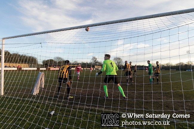 Rushall Olympic 1 Workingon 0, 17/02/2018. Dales Lane, Northern Premier League Premier Division. A shot flies just over the Rushall bar in injury time. Photo by Paul Thompson.