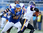 BROOKINGS, SD - DECEMBER 2: Spencer Hildahl # 96 from South Dakota State closes in on quarterback xxxxxxxxx #14 from Northern Iowa for a sack during their FCS Division 1 playoff game Saturday afternoon at Dana J. Dykhouse Stadium in Brookings, SD. (Photo by Dave Eggen/Inertia)