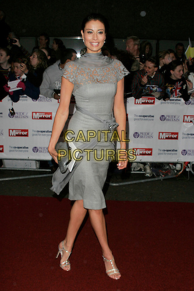 MELANIE SYKES.The Pride of Britain Awards, London Television Centre, South Bank, London, England, UK, .September 30th, 2008 .full length grey gray lace cap sleeve dress shoes clutch bag flower sandals.CAP/AH.©Adam Houghton/Capital Pictures.