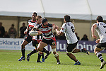 DJ Forbes looks to fend off Pama Petia during the Air New Zealand Cup Rugby game between Counties Manukau & Hawkes Bay, played at Growers Stadium Pukekohe on Sunday 14th of September 2008.