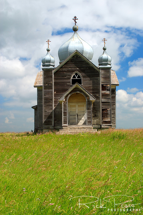 An abandoned Ukranian Orthodox Church stands on the prairie near Quill Lake, Saskatchewan. Photographed 08/06
