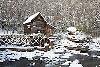 67395-04201 Glade Creek Grist Mill in winter, Babcock State Park, WV