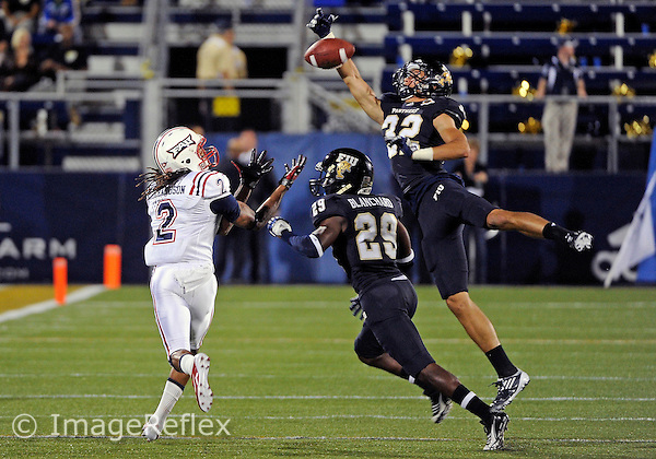 Florida International University football player defensive back Justin Halley (32) plays against the Florida Atlantic University on November 12, 2011 at Miami, Florida. FIU won the game 41-7. .