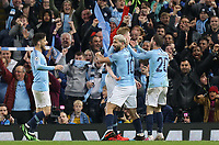 Manchester City's Sergio Aguero celebrates scoring his side's fourth goal with team-mates David Silva (left), Kevin De Bruyne and Bernardo Silva<br /> <br /> Photographer Rich Linley/CameraSport<br /> <br /> UEFA Champions League - Quarter-finals 2nd Leg - Manchester City v Tottenham Hotspur - Wednesday April 17th 2019 - The Etihad - Manchester<br />  <br /> World Copyright © 2018 CameraSport. All rights reserved. 43 Linden Ave. Countesthorpe. Leicester. England. LE8 5PG - Tel: +44 (0) 116 277 4147 - admin@camerasport.com - www.camerasport.com