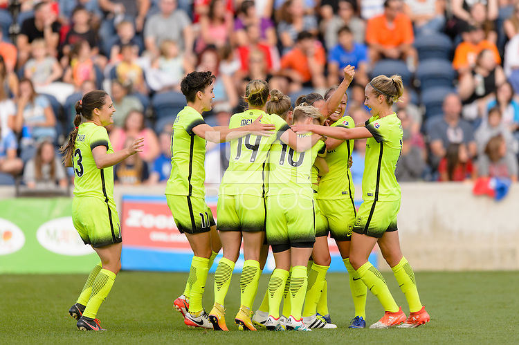 Chicago, IL - Sunday Sept. 04, 2016: Seattle Reign, Manon Melis celebrates scoring during a regular season National Women's Soccer League (NWSL) match between the Chicago Red Stars and Seattle Reign FC at Toyota Park.