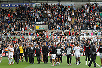 Npower Championship, Swansea City FC (white) V Sheffield United. Sat 7th May 2011 (12.45pm KO)<br /> Pictured: The Swans celebrate reaching the playoffs with a lap arond the ground<br /> Picture by: Ben Wyeth / Athena Picture Agency<br /> info@athena-pictures.com<br /> 07815 441513