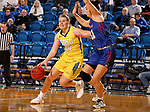 BROOKINGS, SD - NOVEMBER 1: Myah Selland #44 from South Dakota State drives to the basket against Gabbie Bohl #32 from the University of Mary during their exhibition game Thursday night at Frost Arena in Brookings. (Photo by Dave Eggen/Inertia)