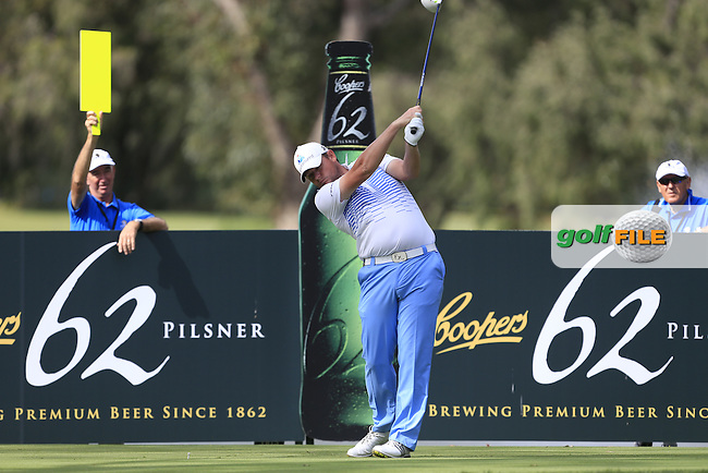 Jamie McLeary (SCO) on the 11th tee during Round 3 of the ISPS HANDA Perth International at the Lake Karrinyup Country Club on Saturday 25th October 2014.<br /> Picture:  Thos Caffrey / www.golffile.ie