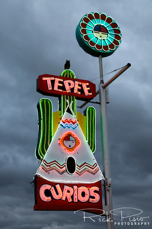 Neon sign for the Tee Pee Curios trading post along Route 66 in Tucamcari, New Mexico.