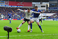 Connor Roberts of Swansea City vies for possession with Marlon Pack of Cardiff City during the Sky Bet Championship match between Cardiff City and Swansea City at the Cardiff City Stadium in Cardiff, Wales, UK. Sunday 12 January 2020