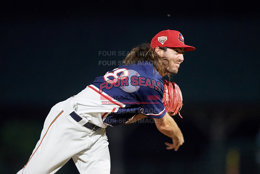 Rochester Red Wings relief pitcher John Curtiss (48) delivers a pitch during a game against the Pawtucket Red Sox on July 4, 2018 at Frontier Field in Rochester, New York.  Pawtucket defeated Rochester 6-5.  (Mike Janes/Four Seam Images)