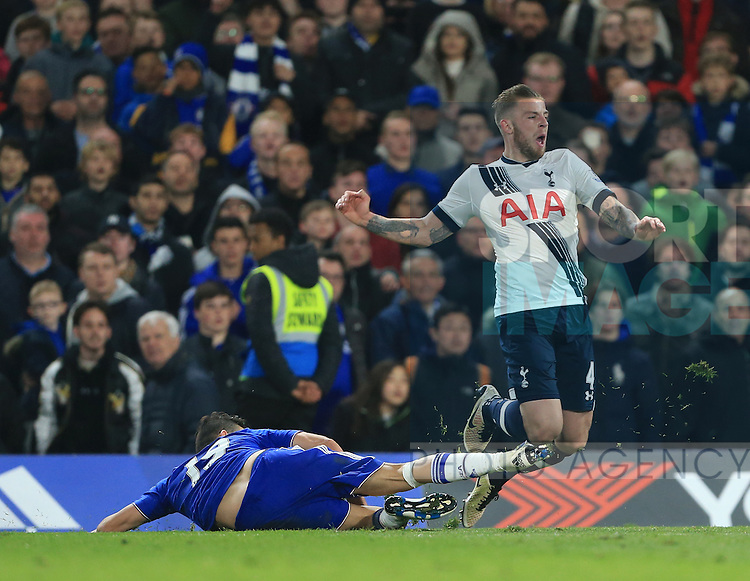 Chelsea's Diego Costa fouls Tottenham's Toby Alderweireld who went off injured during the Barclays Premier League match at Stamford Bridge Stadium.  Photo credit should read: David Klein/Sportimage