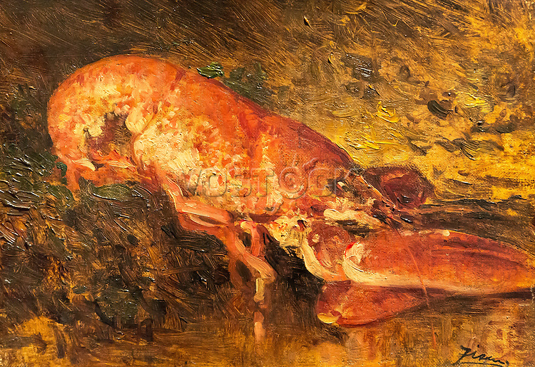 Still life with lobster - Felix Ziem (1821-1911)
