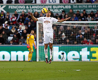 SWANSEA, WALES - FEBRUARY 07: Jack Cork of Swansea stops the ball with his chest during the Premier League match between Swansea City and Sunderland AFC at Liberty Stadium on February 7, 2015 in Swansea, Wales.