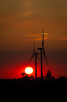 Two 2MW wind turbines at sunset - Gedney Marsh wind farm, Lincolnshire