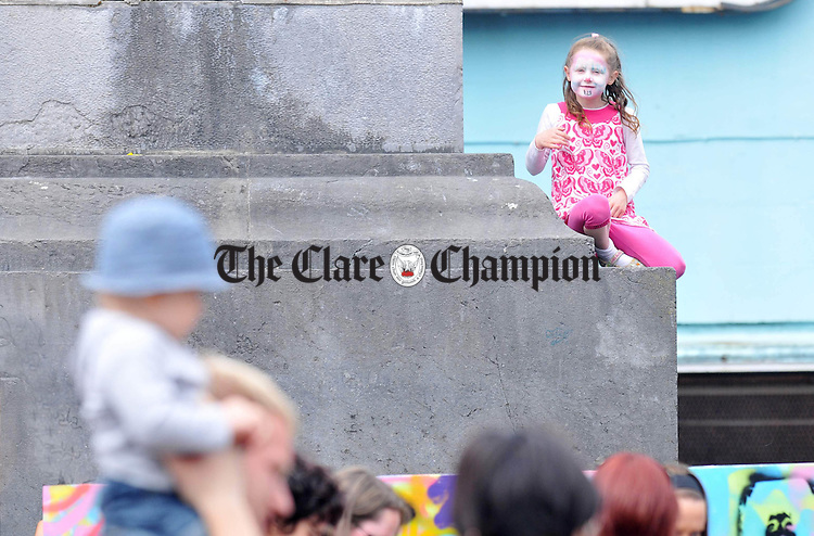 Eileen Conlon from Ennis gets a birds eye view of the Ennis Street Festival. Photograph by Declan Monaghan