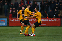Andi Thanoj (centre)  of Boston United celebrates his goal in the first half during Carshalton Athletic vs Boston United, Emirates FA Cup Football at the War Memorial Sports Ground on 9th November 2019