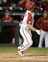 NWA Democrat-Gazette/ANDY SHUPE<br /> Arkansas Western Illinois Tuesday, March 12, 2019, during the inning at Baum-Walker Stadium in Fayetteville. Visit nwadg.com/photos to see more photographs from the game.