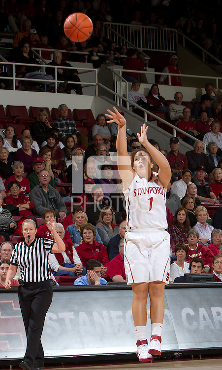 STANFORD, CA - February 26, 2011:  Grace Mashore shoots in Stanford's 99-60 victory over Oregon at Stanford, California on February 26, 2011.