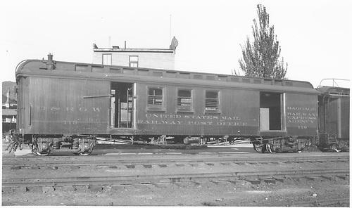 #119 baggage &amp; RPO car at Durango.  Side view.<br /> D&amp;RGW  Durango, CO  7/18/1939
