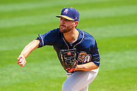 San Antonio Missions pitcher Bubba Derby (11) warms up in the bullpen prior to a Pacific Coast League game against the Iowa Cubs on May 2, 2019 at Principal Park in Des Moines, Iowa. Iowa defeated San Antonio 8-6. (Brad Krause/Four Seam Images)