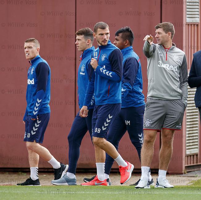 26.09.2018 Rangers training: Borna Barisic and Steven Gerrard
