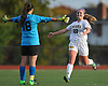 St. Anthony's No. 22 Stephanie Darrell, right, and goalie Camryn Nici celebrate after their team's 3-0 win over Kellenberg in the NSCHSAA varsity girls' soccer Class AA championship played at St. John the Baptist High School on Thursday, October 29, 2015.<br /> <br /> James Escher