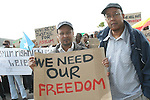 Jamaal and Adam who are  Asylum seekers in, Mosney, Co Meath protesting this morning as 150 people are being moved to alternative accommodation...Photo NEWSFILE/Jenny Matthews.(Photo credit should read Jenny Matthews/NEWSFILE)....This Picture has been sent you under the condtions enclosed by:.Newsfile Ltd..The Studio,.Millmount Abbey,.Drogheda,.Co Meath..Ireland..Tel: +353(0)41-9871240.Fax: +353(0)41-9871260.GSM: +353(0)86-2500958.email: pictures@newsfile.ie.www.newsfile.ie.FTP: 193.120.102.198.