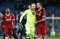 Liverpool's Loris Karius (left) and Dejan Lovren celebrate at the final whistle<br /> <br /> Photographer Rich Linley/CameraSport<br /> <br /> UEFA Champions League Quarter-Final Second Leg - Manchester City v Liverpool - Tuesday 10th April 2018 - The Etihad - Manchester<br />  <br /> World Copyright &copy; 2017 CameraSport. All rights reserved. 43 Linden Ave. Countesthorpe. Leicester. England. LE8 5PG - Tel: +44 (0) 116 277 4147 - admin@camerasport.com - www.camerasport.com