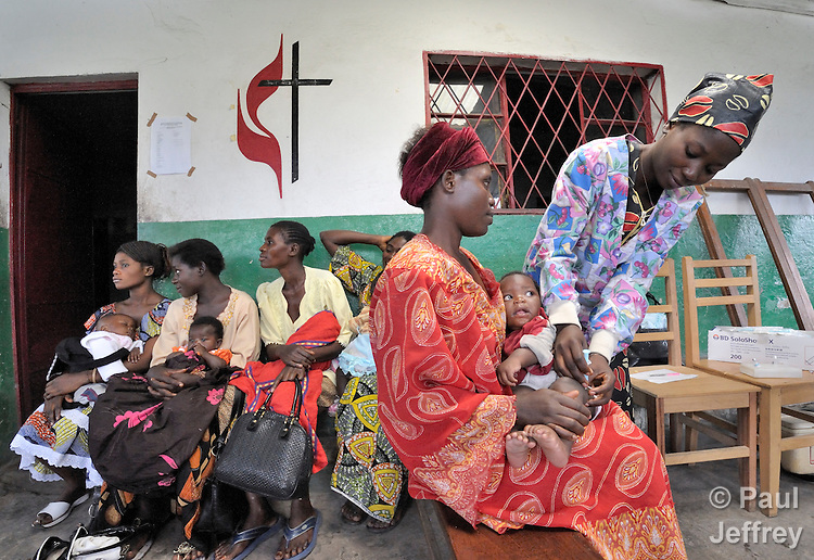 Children receive vaccinations at the Shungu Memorial Health Center in Kamina, Democratic Republic of the Congo. The center is funded by the United Methodist Church.