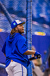 26 March 2018: Toronto Blue Jays third baseman Vladimir Guerrero Jr. awaits his turn in the batting cage prior to a pre-season exhibition game against the St. Louis Cardinals at Olympic Stadium in Montreal, Quebec, Canada. The Cardinals defeated the Blue Jays 5-3 in the first of two MLB Grapefruit League games, in which Guerrero Jr. made his first appearance since childhood at the former home on the Montreal Expos. Mandatory Credit: Ed Wolfstein Photo *** RAW (NEF) Image File Available ***