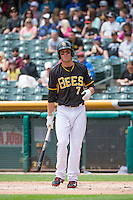 Grant Green (7) of the Salt Lake Bees at the plate during the game against the Colorado Springs Sky Sox in Pacific Coast League action at Smith's Ballpark on May 24, 2015 in Salt Lake City, Utah.  (Stephen Smith/Four Seam Images)