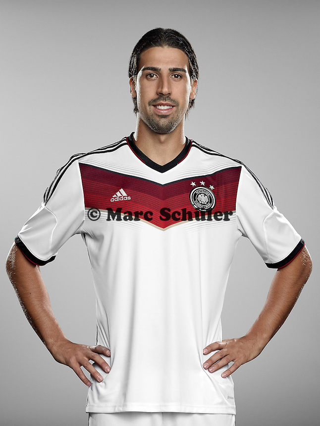 ST. MARTIN IN PASSEIER, ITALY - MAY 24: In this handout image provided by German Football Association (DFB) Sami Khedira of team Germany poses for a picture on May 24, 2014 in St. Martin in Passeier, Italy.  (Photo by Handout/DFB via Bongarts/Getty Images)  *** Local Caption *** Sami Khedira
