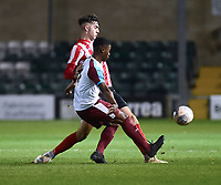 Lincoln City U18's Ellis Chapman vies for possession with  South Shieldsy U18's Emeraude Yembe<br /> <br /> Photographer Andrew Vaughan/CameraSport<br /> <br /> The FA Youth Cup Second Round - Lincoln City U18 v South Shields U18 - Tuesday 13th November 2018 - Sincil Bank - Lincoln<br />  <br /> World Copyright © 2018 CameraSport. All rights reserved. 43 Linden Ave. Countesthorpe. Leicester. England. LE8 5PG - Tel: +44 (0) 116 277 4147 - admin@camerasport.com - www.camerasport.com
