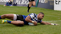Bath Rugby's Joe Cokanasiga scores his side's second try<br /> <br /> Photographer Bob Bradford/CameraSport<br /> <br /> Gallagher Premiership - Bath Rugby v Northampton Saints - Saturday 22 September 2018 - The Recreation Ground - Bath<br /> <br /> World Copyright &copy; 2018 CameraSport. All rights reserved. 43 Linden Ave. Countesthorpe. Leicester. England. LE8 5PG - Tel: +44 (0) 116 277 4147 - admin@camerasport.com - www.camerasport.com