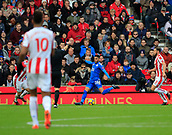 4th November 2017, bet365 Stadium, Stoke-on-Trent, England; EPL Premier League football, Stoke City versus Leicester City; Riyad Mahrez of Leicester City shoots to score the second goal for Leicester in the 60th minute making it 2-1 to Leicester