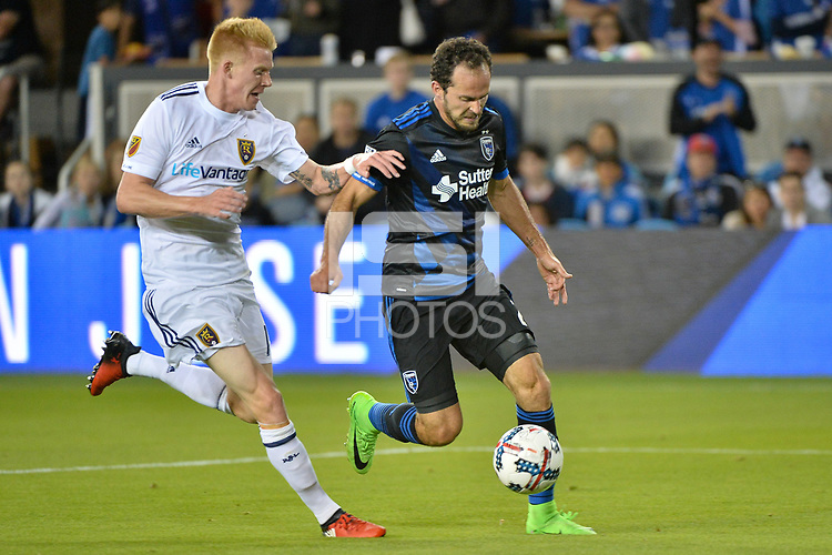 San Jose, CA - Saturday June 24, 2017: Justen Glad, Marco Ureña during a Major League Soccer (MLS) match between the San Jose Earthquakes and Real Salt Lake at Avaya Stadium.