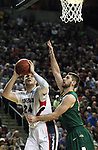 Gonzaga's Przemek Karnowski (24) gets set underneath the ehile being guarded by North Dakota State's Chris Kading (34)  during the 2015 NCAA Division I Men's Basketball Championship's March 20, 2015 at the Key Arena in Seattle, Washington.    ©2015. Jim Bryant Photo. ALL RIGHTS RESERVED.