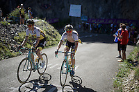 Wilco Kelderman (NLD/LottoNL-Jumbo) & Bert-Jan Lindeman (NLD/LottoNL-Jumbo) up the Lacets du Grand Colombier (Cat1/891m/8.4km/7.6%)<br /> <br /> stage 15: Bourg-en-Bresse to Culoz (160km)<br /> 103rd Tour de France 2016