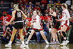 SIOUX FALLS, SD - MARCH 7: Alexi Hempe #41 of the South Dakota Coyotes looks to pass the ball against the Omaha Mavericks at the 2020 Summit League Basketball Championship in Sioux Falls, SD. (Photo by Richard Carlson/Inertia)