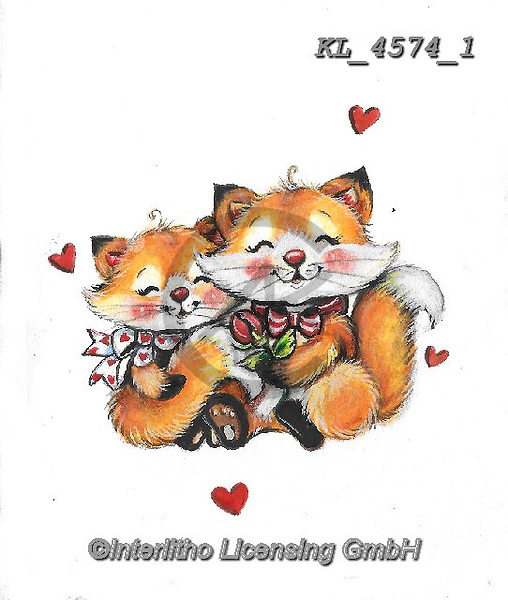 VALENTINE, VALENTIN, paintings+++++,KL4574/1,#v#, EVERYDAY ,sticker,stickers,fox